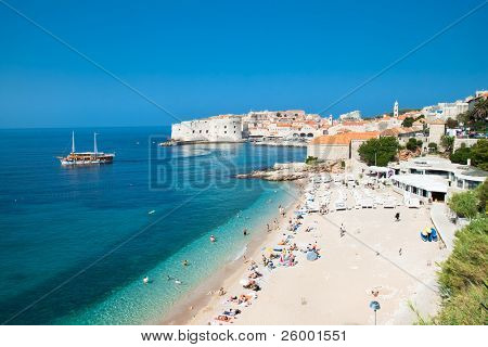 Panoramic view on the beautiful beach in Dubrovnik, Croatia