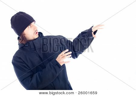 Frightened Man In Winter Jacket