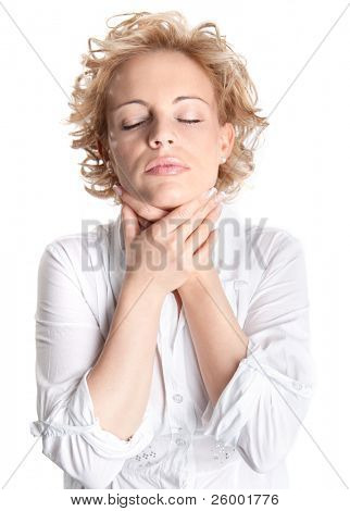 Sore throat young woman in white