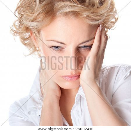 Woman with pain in her neck and head. Isolated medical shot over white background.