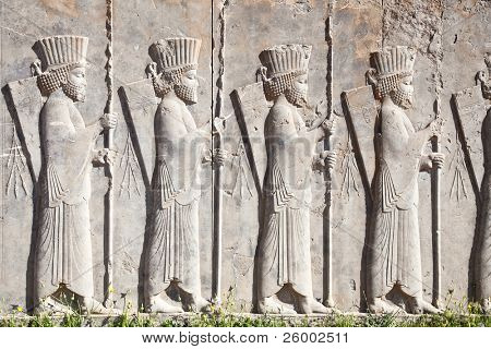 Bass relief decoration in central part of Persepolis complex, next to Palace of 100 columns , Iran