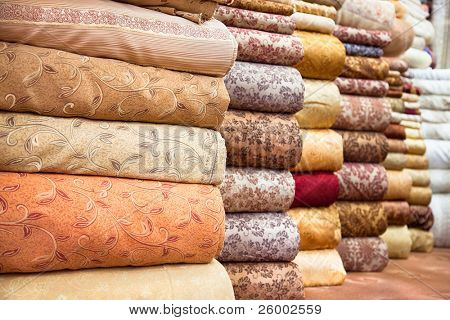 Colored textile in a traditional east bazaar, Shiraz, Iran