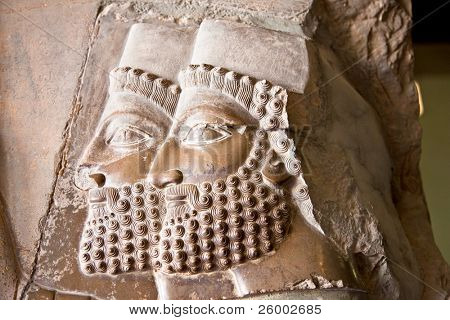 Two heads, Ancient bas-reliefs of Persepolis, Iran