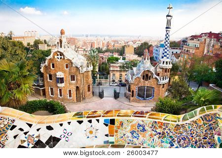 Colorful architecture by Antonio Gaudi. Parc Guell is the most important park in Barcelona. Spain