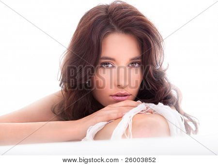 Portrait of beautiful caucasian young woman. Soft light shot