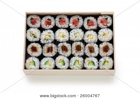 Assortment of traditional japanese sushi  rolls