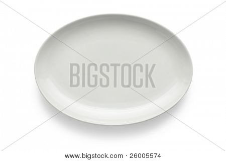 White oval plate