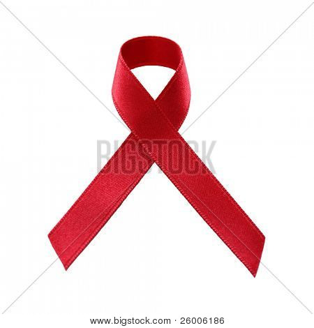A red AIDS awareness ribbon , no shadow, on white background