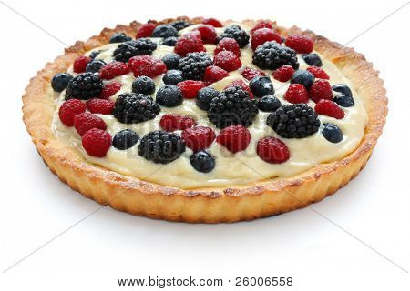 Fresh Fruit Tart on white background