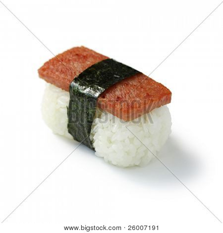 Spam Musubi , Rice Ball with a slice of grilled Spam on top and Nori (seaweed) wrapping.