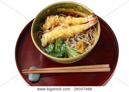 Soba( Japanese buckwheat noodles ) with Prawn tempura