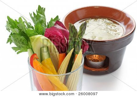 Bagna Cauda , italian warm party dip served with fresh vegetables