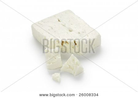 feta cheese on white background