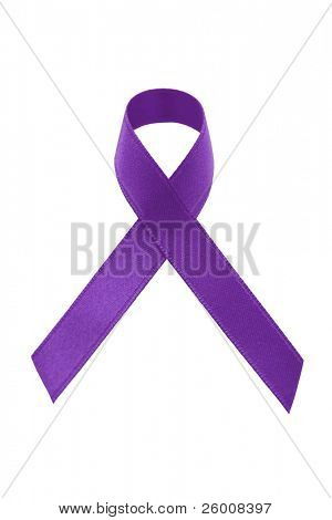 A purple awareness ribbon on white background