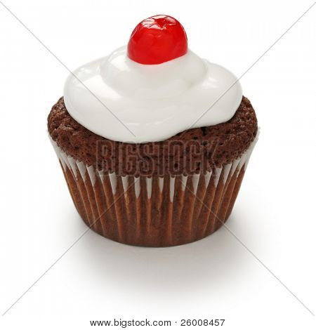 cherry chocolate cupcake on white background