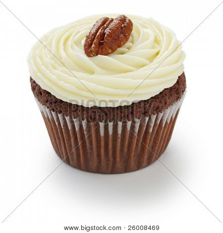 Pecan nuts chocolate cupcake on white background