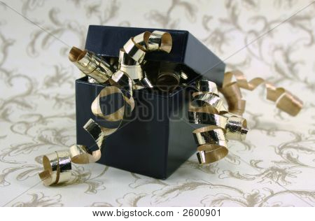 Blue Gift Box With Lid And Gold Curly Ribbons
