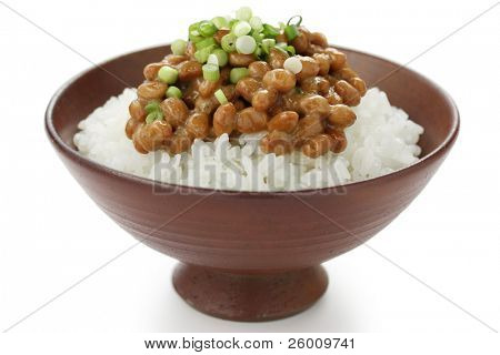 natto(fermented soy beans) on rice , japanese food
