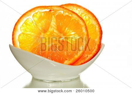 Two slices of mandarin in white cup