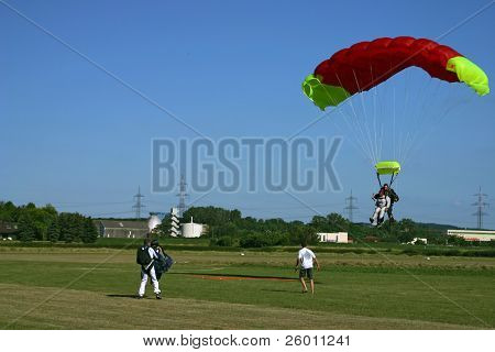 Paragliding and landing