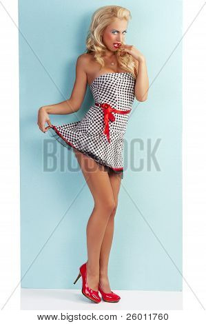 Sensual Flirty Pin Up With A Red Belt