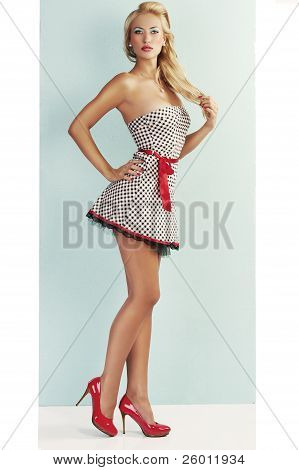 Sensual Pin Up With Red Shoes