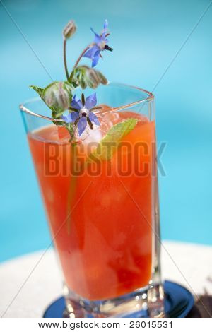 Glass of Bloody Mary alcohol cocktail garnished with borage flowers on swimming pool side outside of hotel in hot day, suited for vacation or travel theme
