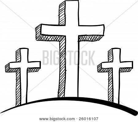 Three Christian crosses