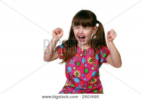 One Angry Young Child On White Background