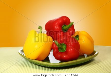 Healthy Bell Peppers On A Plate
