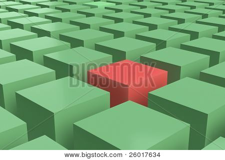 green and red cubes