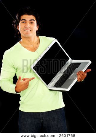 Man Pointing At Laptop