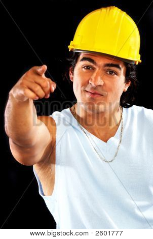Male Builder Pointing