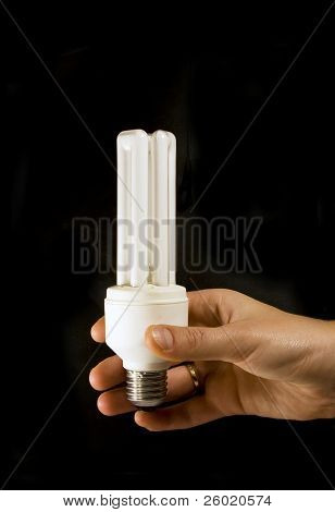 Hand holding energy saving light bulb
