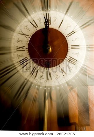 Old vintage clock blurred in