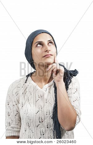 Female With Blue Veil Think