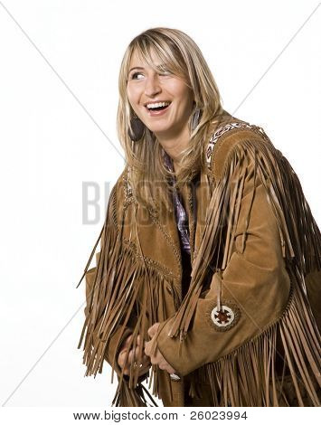 Sexy cow girl with indian lether jacket
