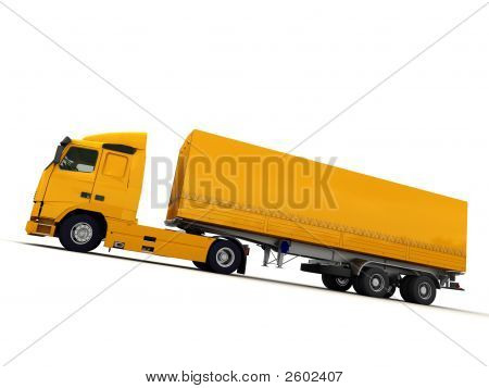 Side View Of A Big Yellow Truck