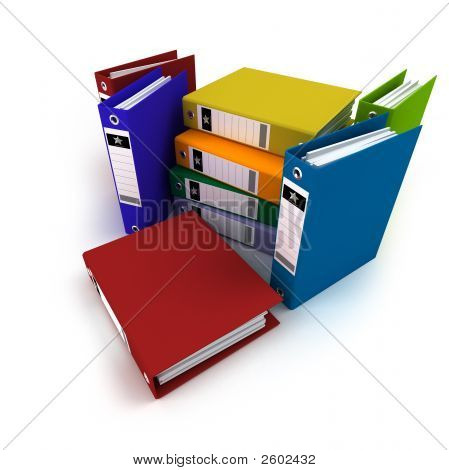 Heap Of Brightly Colored Ring Binders,