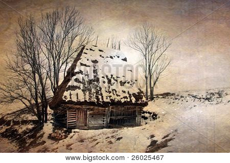 Vintage Romanian wooden cottage