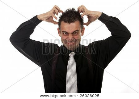 Angry businessman tearing his hair