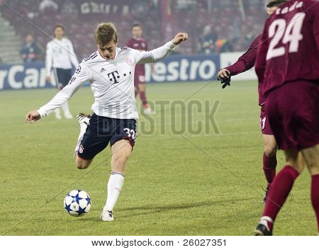 CLUJ-NAPOCA, ROMANIA - NOVEMBER 3: Toni Kroos in the UEFA Champions League match between CFR 1907 Cluj and FC Bayern Munchen - Cluj-Napoca, Romania on November 3, 2010