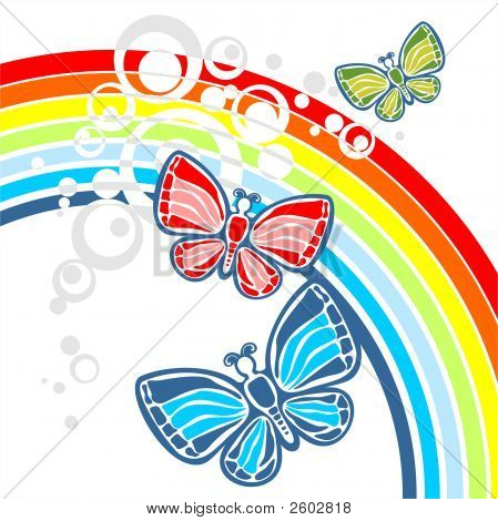 Rainbow And Three Butterflies
