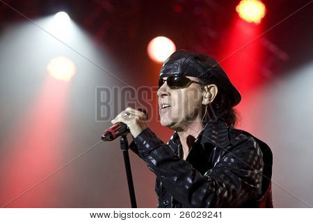 CLUJ NAPOCA, ROMANIA – OCTOBER 8: Klaus Meine from Scorpions rock band performs at Cluj Arena Grand Opening concert on October 8, 2011 in Cluj-Napoca, Romania