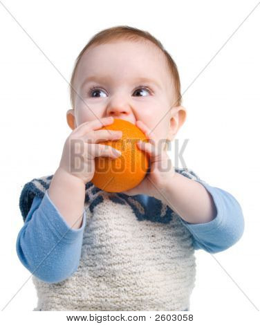 Boy Eats Orange