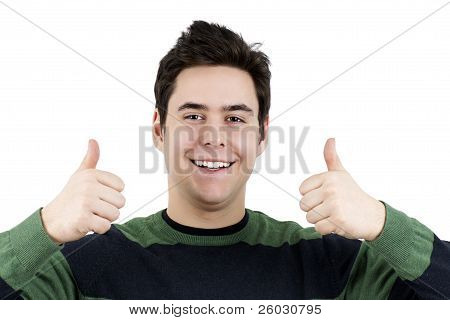 Young Guy With Two Thumbs Up