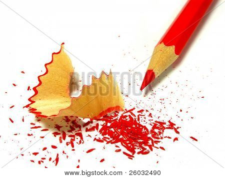 Pencil with pencil sharpening shavings