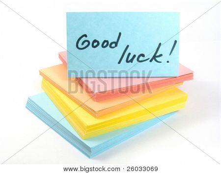 """Sticks with phrase """"Good luck"""""""
