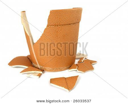 The broken flowerpot on white background