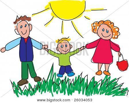 Estilo infantil dibujo de una familia feliz. Ilustración de Vector